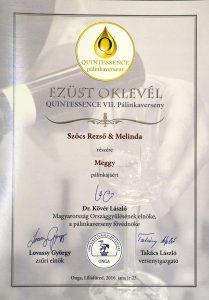 Diploma de Argint QUINTESSENCE 2016 Palinca de Visine