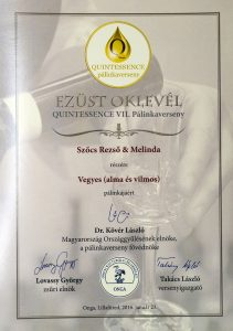 Diploma de Argint QUINTESSENCE 2016 Palinca de Mere si Pere Williams