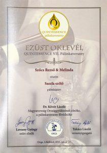 Diploma de Argint QUINTESSENCE 2016 Palinca de Struguri Sasla
