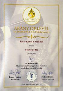 Diploma de Aur QUINTESSENCE 2017 Palinca de soc