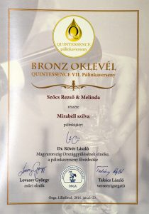 Diploma de Bronz QUINTESSENCE 2016 Palinca de Prune Mirabelle