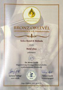 Diploma de Bronz QUINTESSENCE 2016 Palinca de Mere
