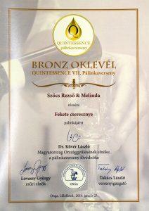 Diploma de Bronz QUINTESSENCE 2016 Palinca de Cirese Negre