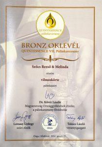 Diploma de Bronz QUINTESSENCE 2016 Palinca de Pere Williams