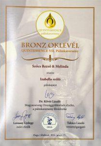 Diploma de Bronz QUINTESSENCE 2016 Palica de Struguri Isabella