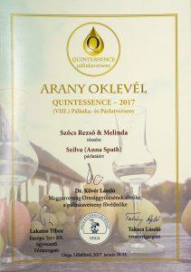 Diploma de Aur QUINTESSENCE 2017 Palinca de Prune