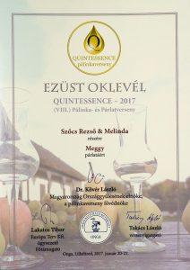 Diploma de Argint QUINTESSENCE 2017 Palinca de Visine