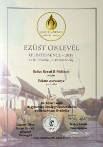 Diploma de Argint QUINTESSENCE 2017 Palinca de Cirese