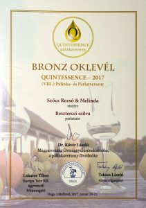 Diploma de Bronz QUINTESSENCE 2017 Palica de Prune Bistrita