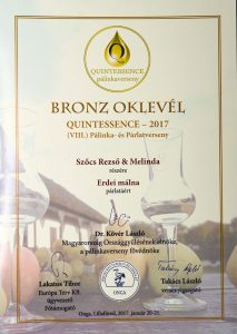 Diploma de Bronz QUINTESSENCE 2017 Palinca de Zmeura