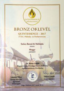 Diploma de Bronz QUINTESSENCE 2017 Palinca de Visine