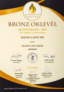 Diploma de Bronz QUINTESSENCE 2018 Palinca de Cirese