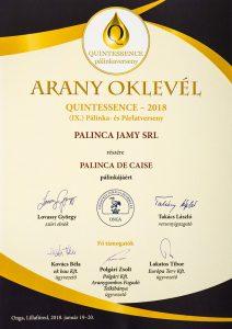 Diploma de Aur QUINTESSENCE 2018 Palinca de Caise