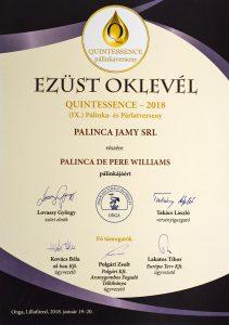 Diploma de Argint QUINTESSENCE 2018 Palinca de Pere Williams