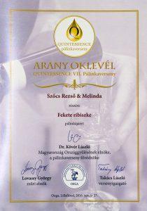 Diploma de Aur QUINTESSENCE 2016 Palica de Coacaze Negre