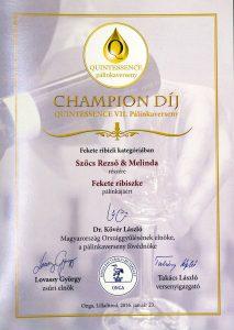 Diploma Campion QUINTESSENCE 2016 Palica de Coacaze Negre