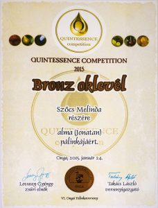 Diploma de Bronz QUINTESSENCE 2015 Palica de Mere Ionatan