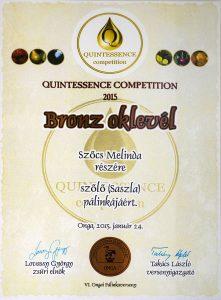 Diploma de Bronz QUINTESSENCE 2015 Palica de Struguri Sasla