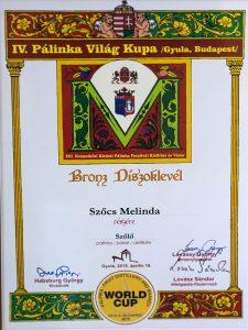 Diploma de Bronz Palinka World Cup 2015 Palica de Struguri