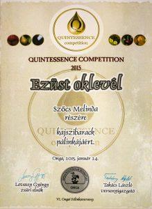 Diploma de Argint QUINTESSENCE 2015 Palica de Caise