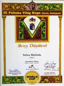 Diploma de Bronz Palinka World Cup 2015 Palica de Mere Ionatan