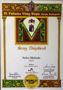 Diploma de Bronz Palinka World Cup 2015 Palica de Prune