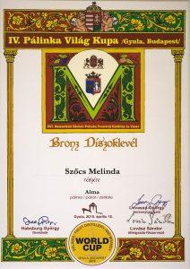 Diploma de Bronz Palinka World Cup 2015 Palica de Mere