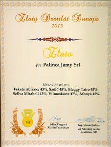 Diploma de Aur Zlatý Destilát Dunaja 2015